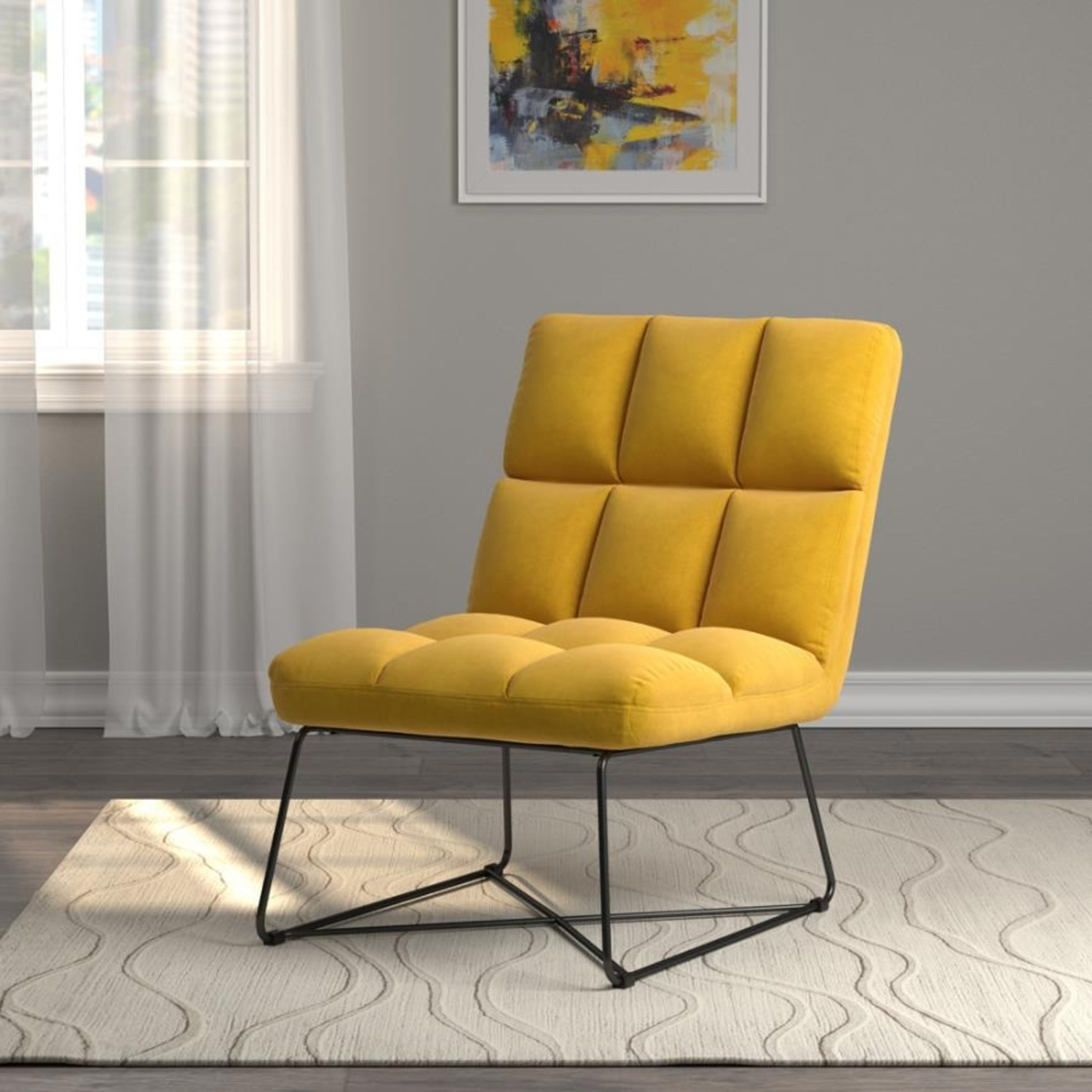 Accent Chair In Burnt Yellow Fabric & Grid Details - image-2