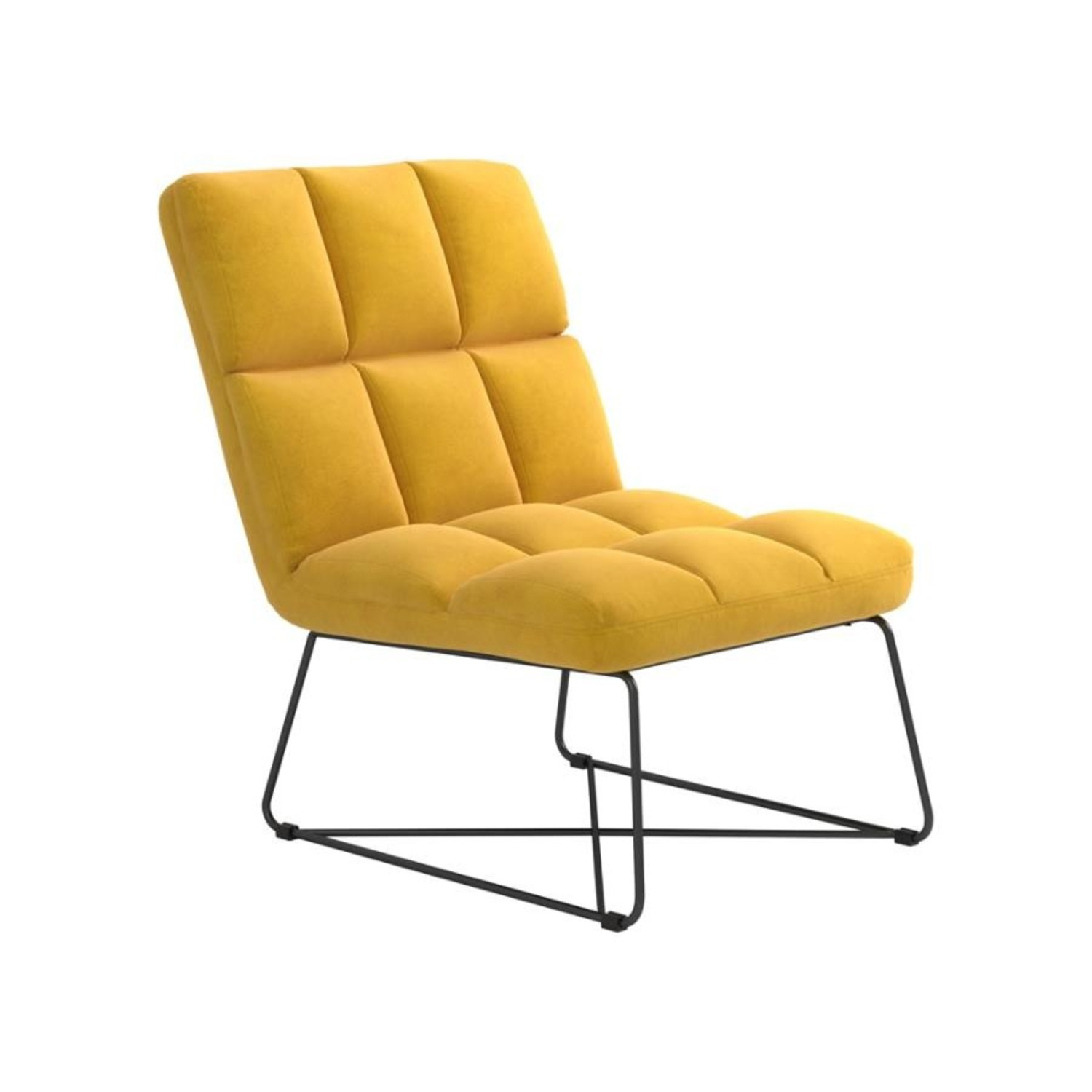 Accent Chair In Burnt Yellow Fabric & Grid Details - image-0