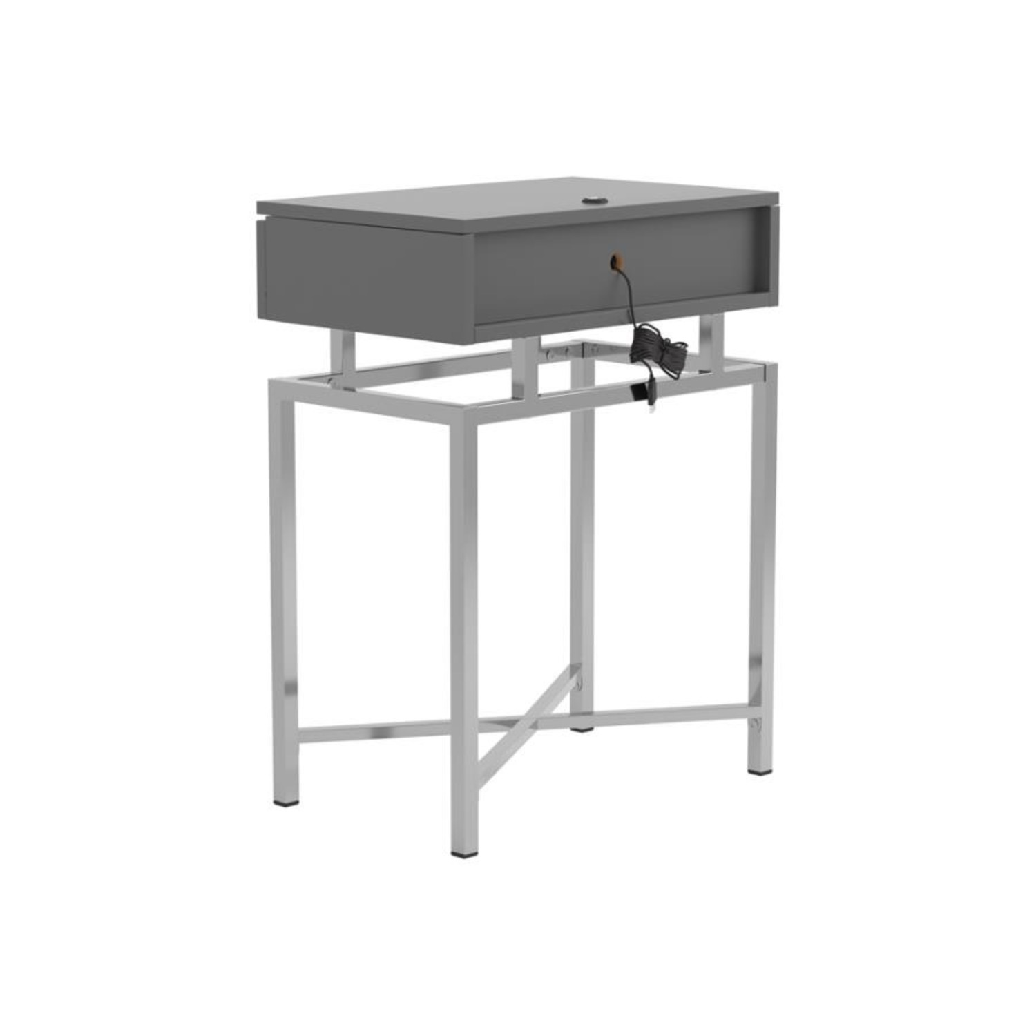 Accent Table In Grey High Gloss Finish - image-5