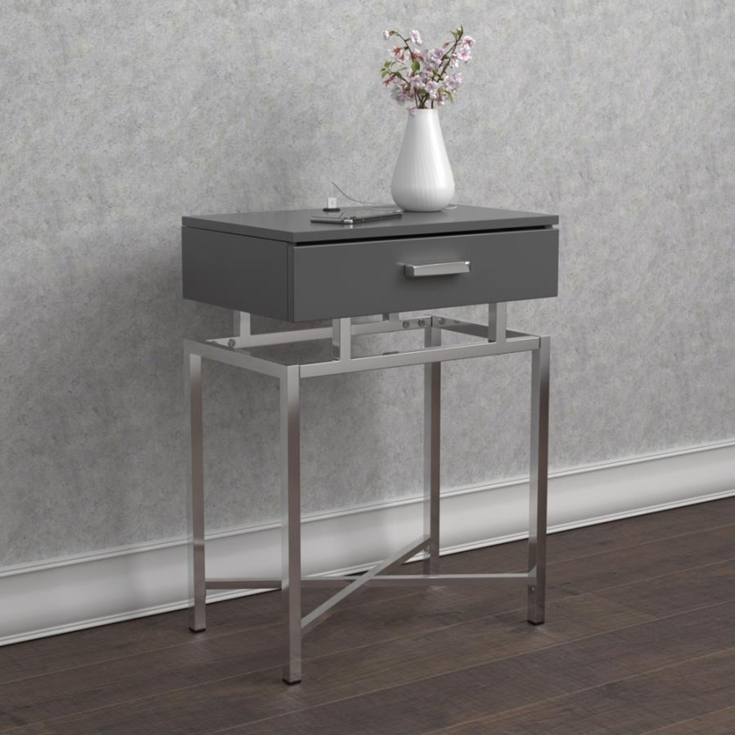 Accent Table In Grey High Gloss Finish - image-7