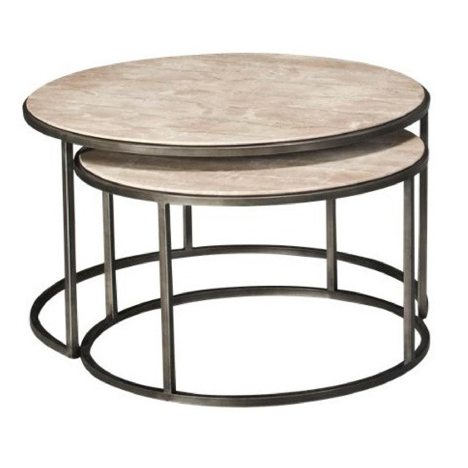 Travertine Marble Nesting Coffee Tables - image-6