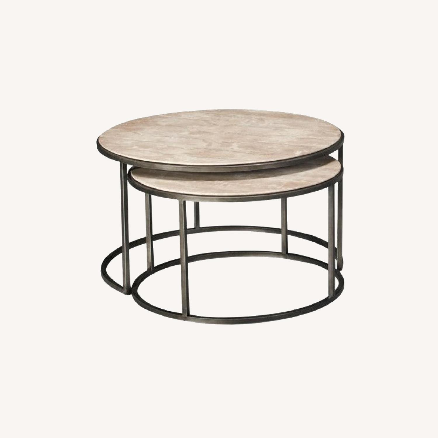 Travertine Marble Nesting Coffee Tables - image-0