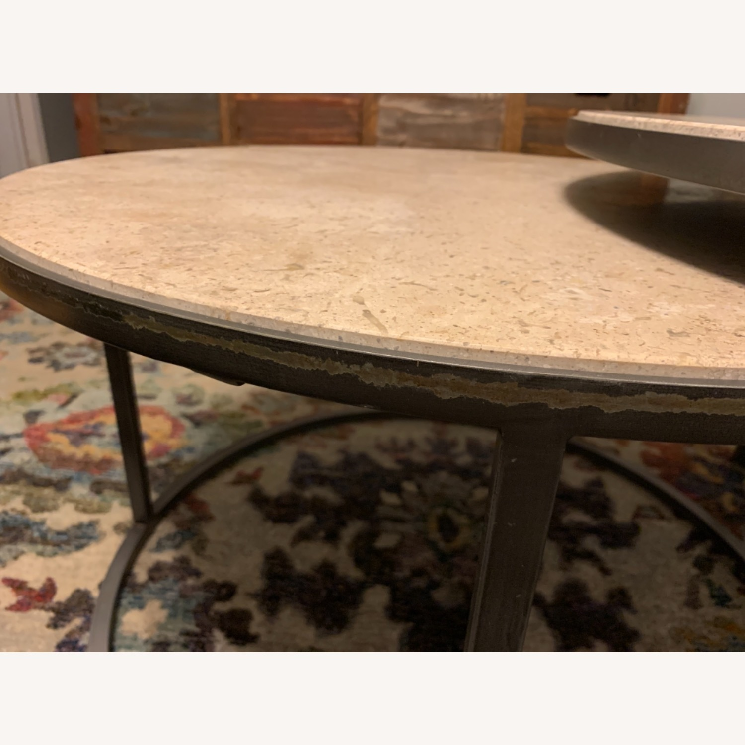 Travertine Marble Nesting Coffee Tables - image-5