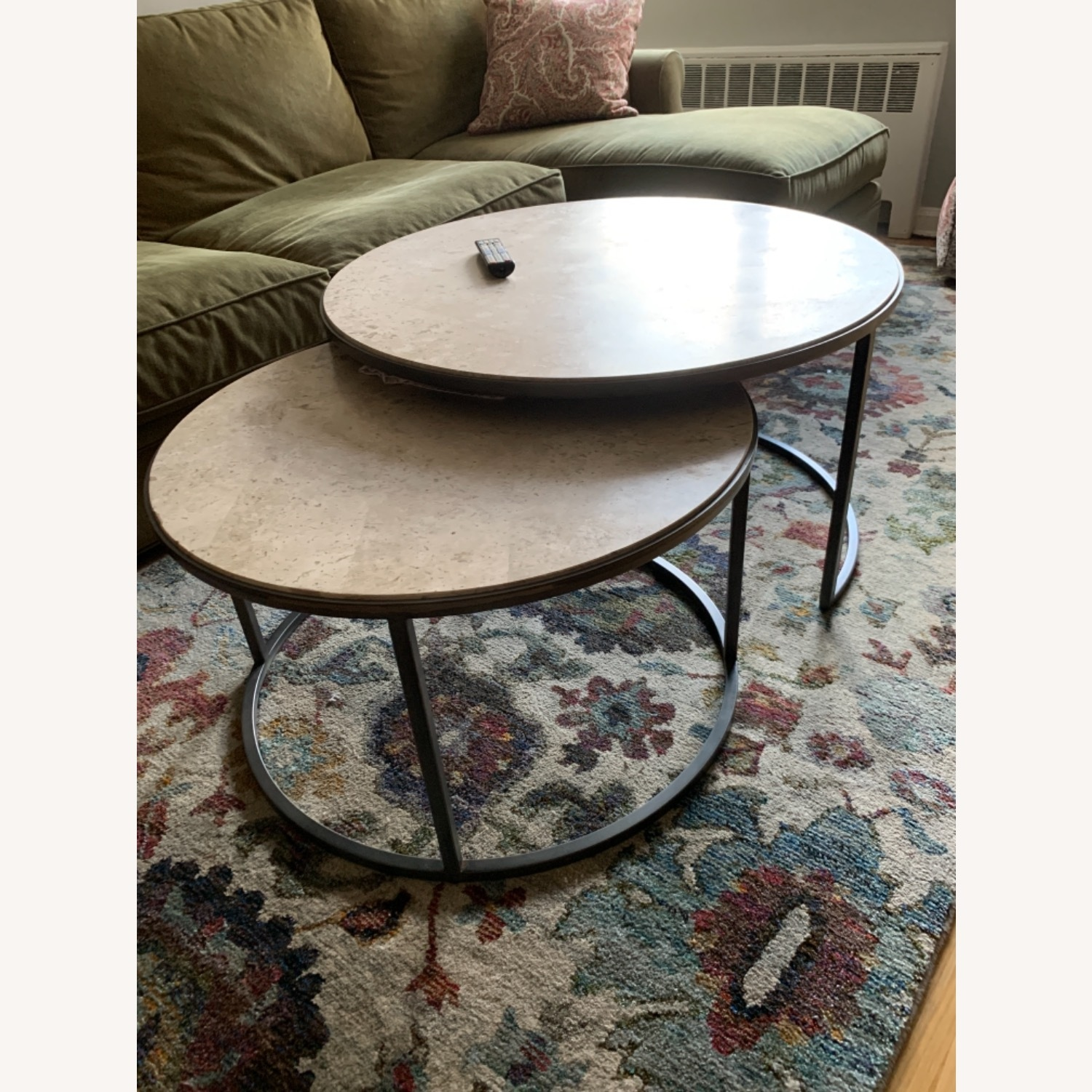 Travertine Marble Nesting Coffee Tables - image-2