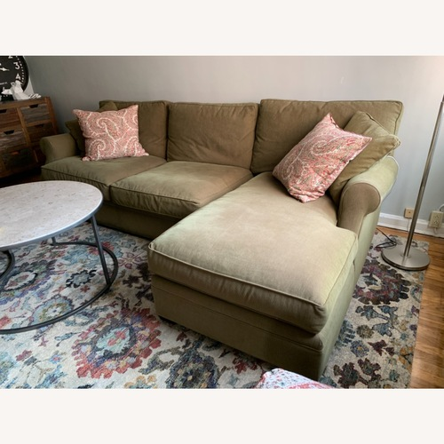 Used Arhaus Green Fabric two-piece Sectional for sale on AptDeco