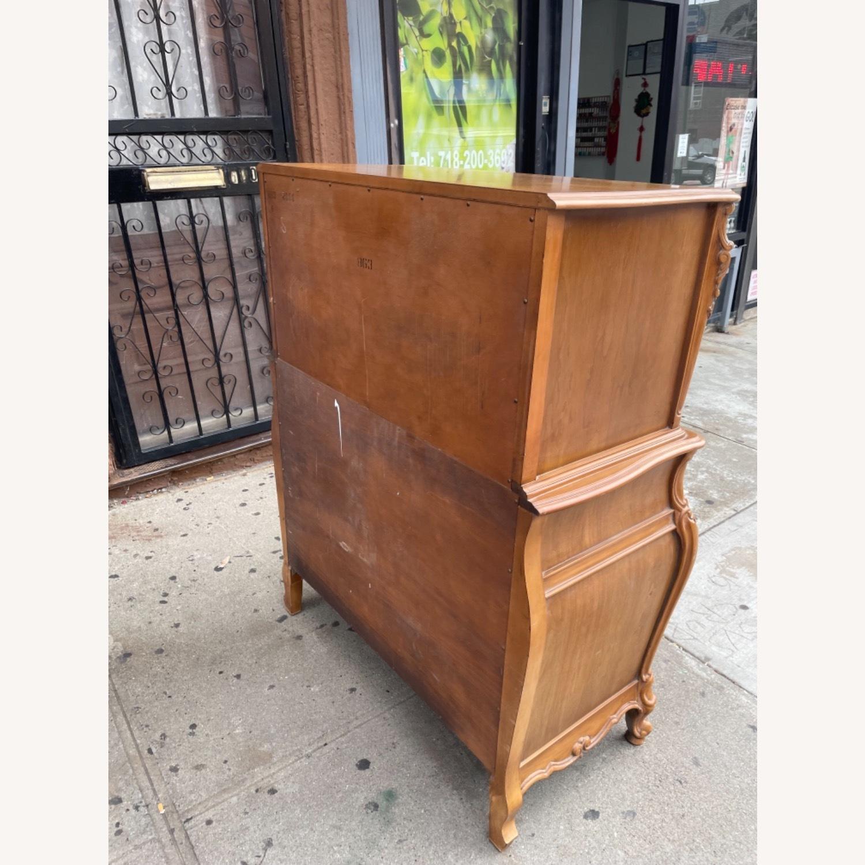 Vintage 1970 Solid Wood French Bombe Dresser - image-9