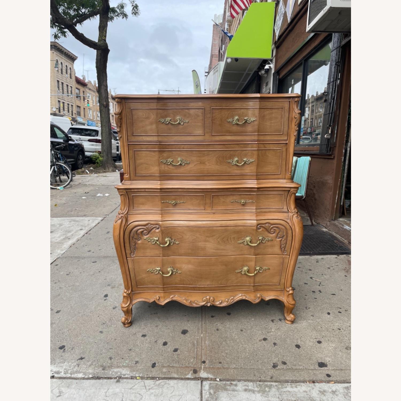 Vintage 1970 Solid Wood French Bombe Dresser - image-31
