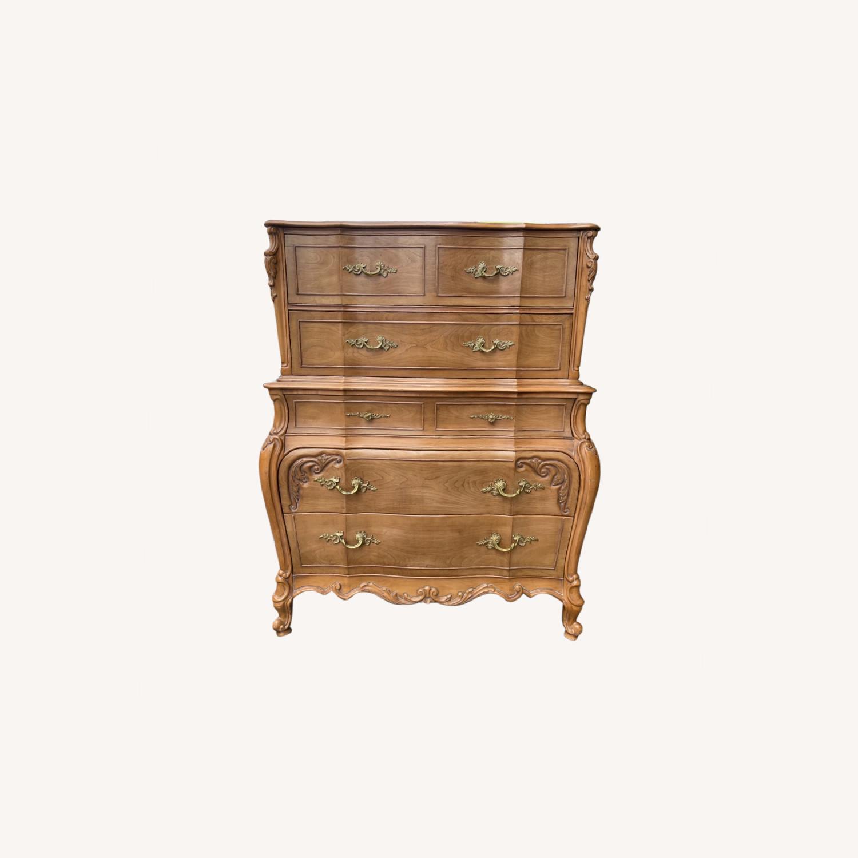 Vintage 1970 Solid Wood French Bombe Dresser - image-0
