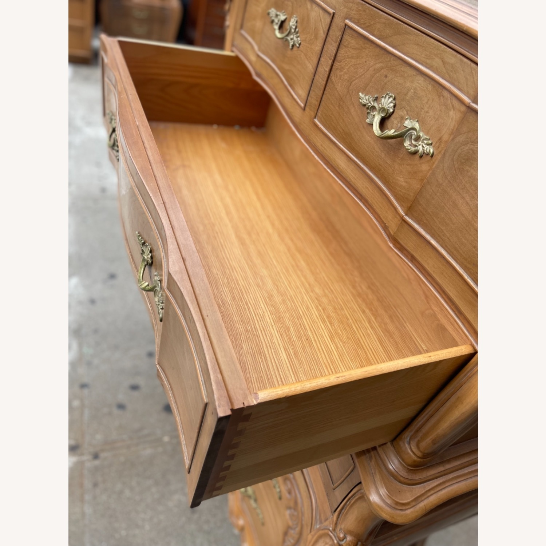 Vintage 1970 Solid Wood French Bombe Dresser - image-29