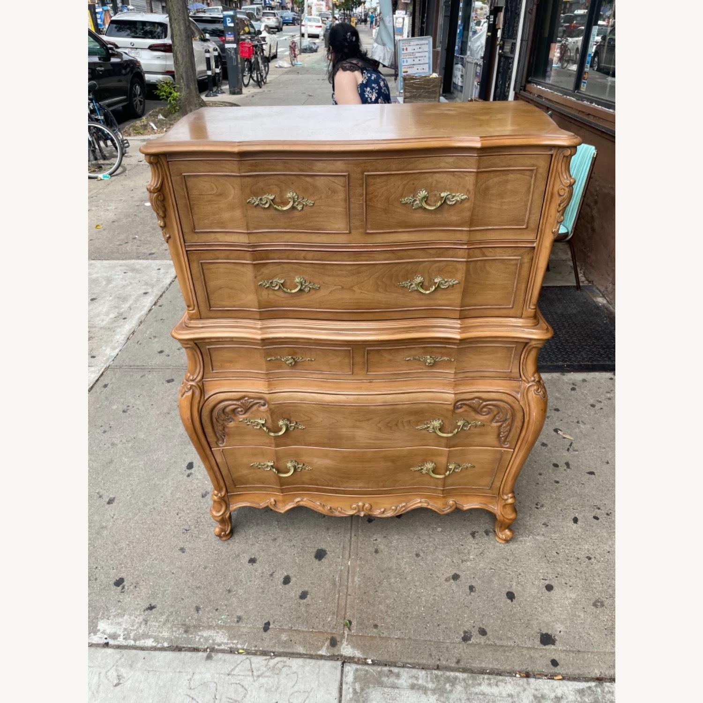 Vintage 1970 Solid Wood French Bombe Dresser - image-5