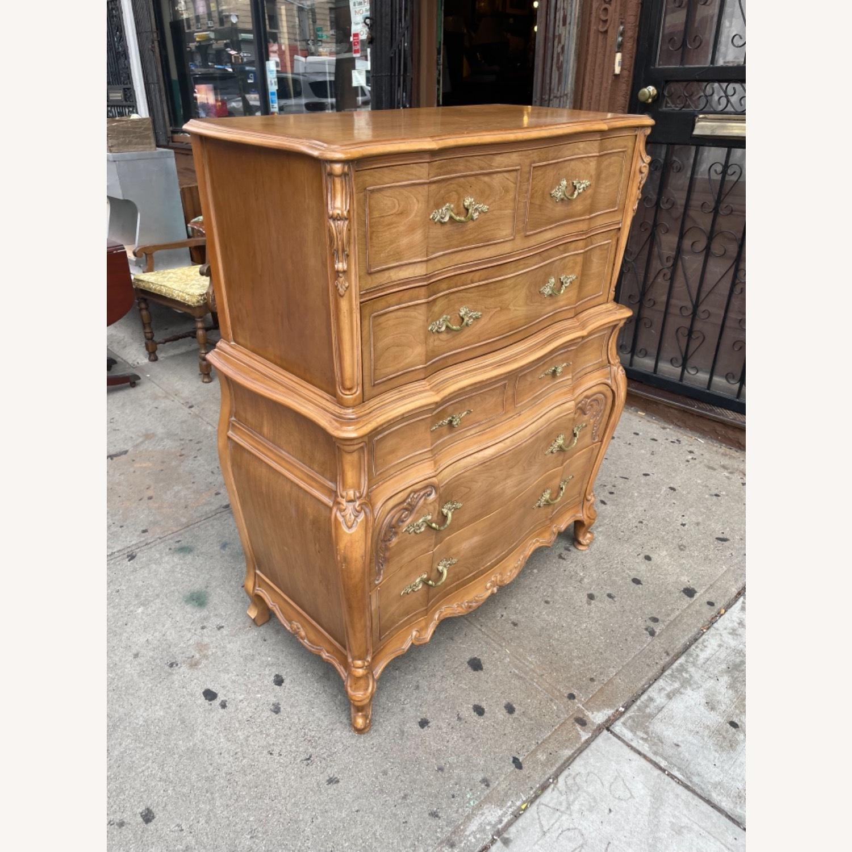 Vintage 1970 Solid Wood French Bombe Dresser - image-36