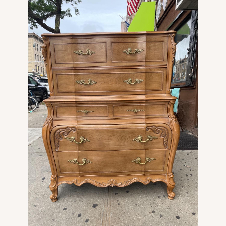 Vintage 1970 Solid Wood French Bombe Dresser - image-1