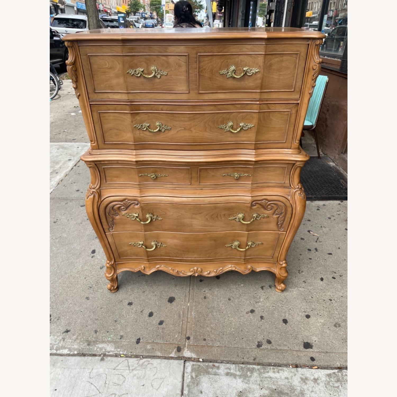 Vintage 1970 Solid Wood French Bombe Dresser - image-33