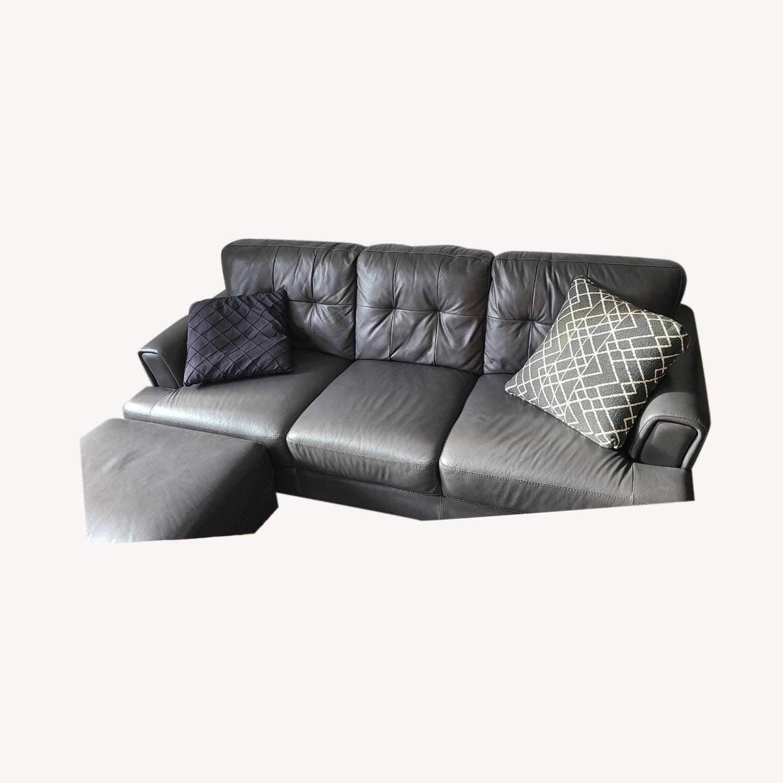 Chateau D'ax Leather Sofa & Ottoman - image-0
