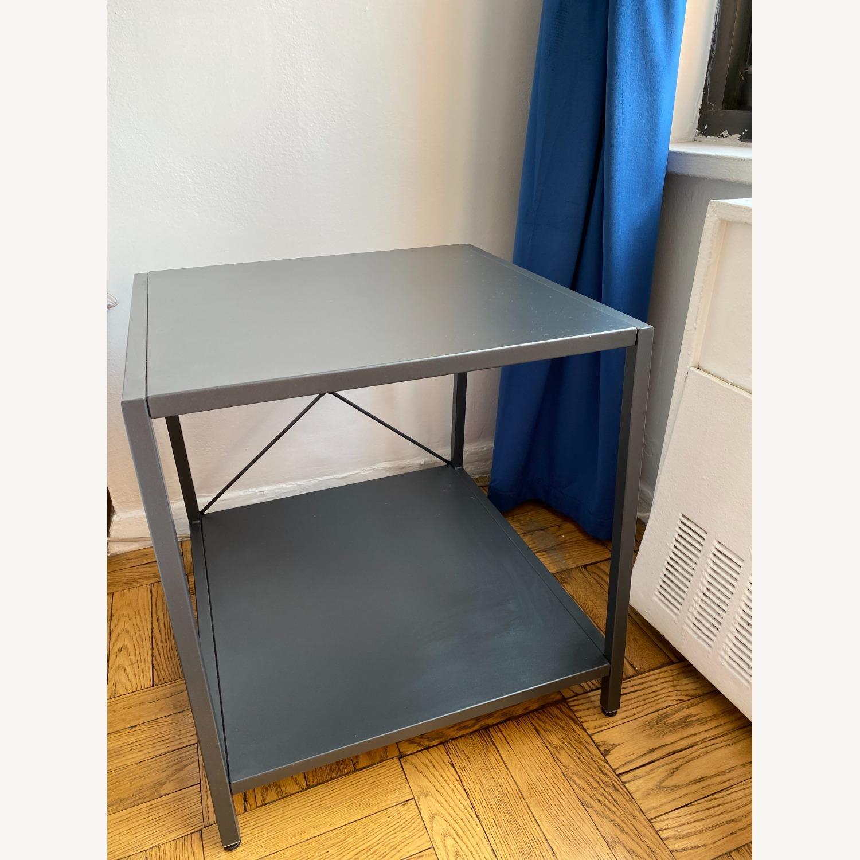 CB2 Grey Metal Side Table - image-2