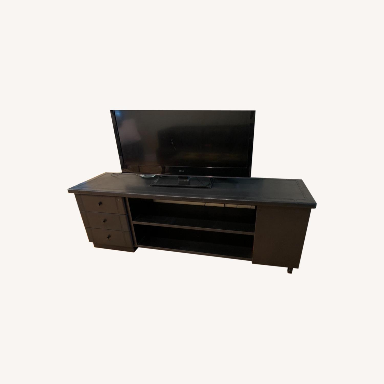 Black Leather Tv Stand Console - image-0
