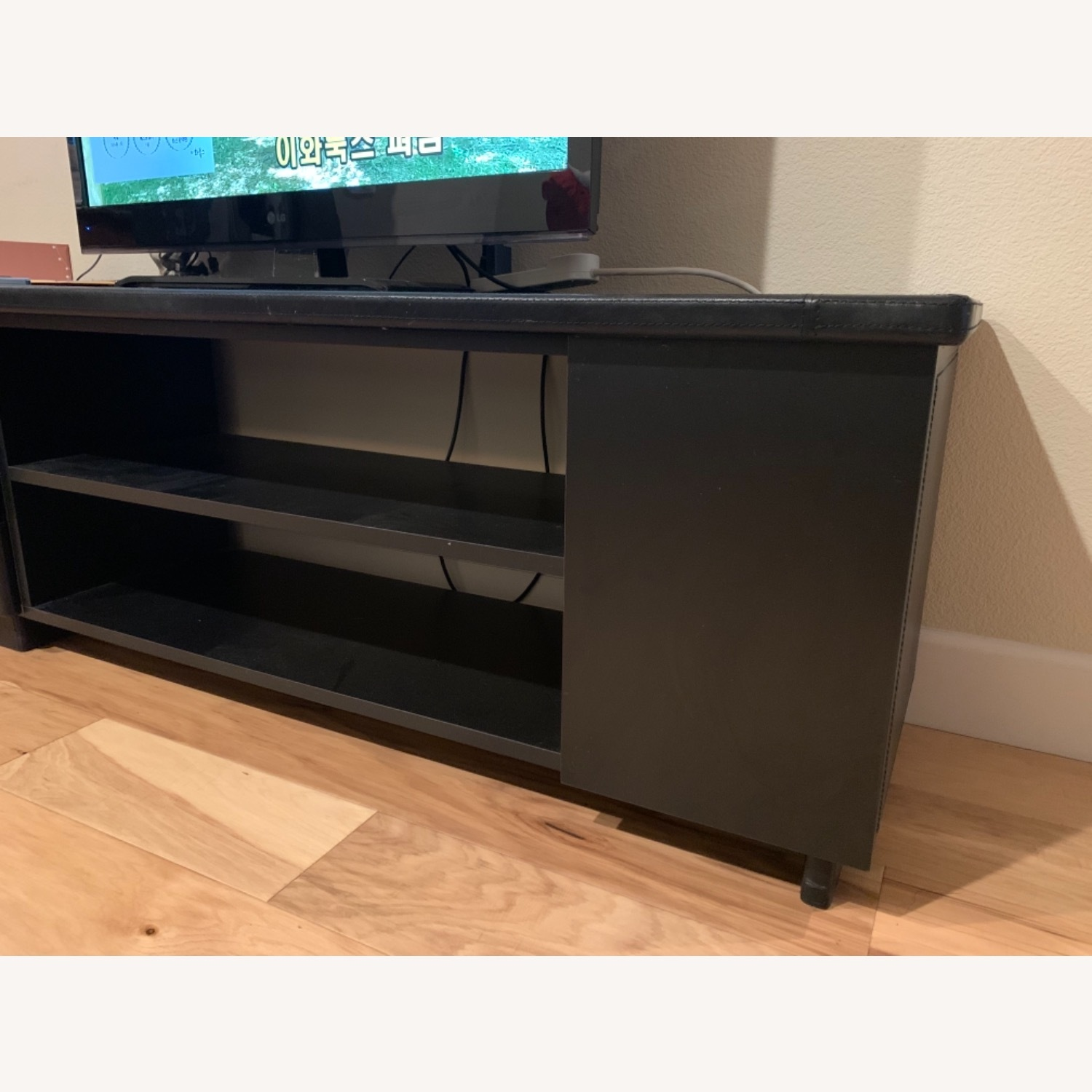 Black Leather Tv Stand Console - image-3