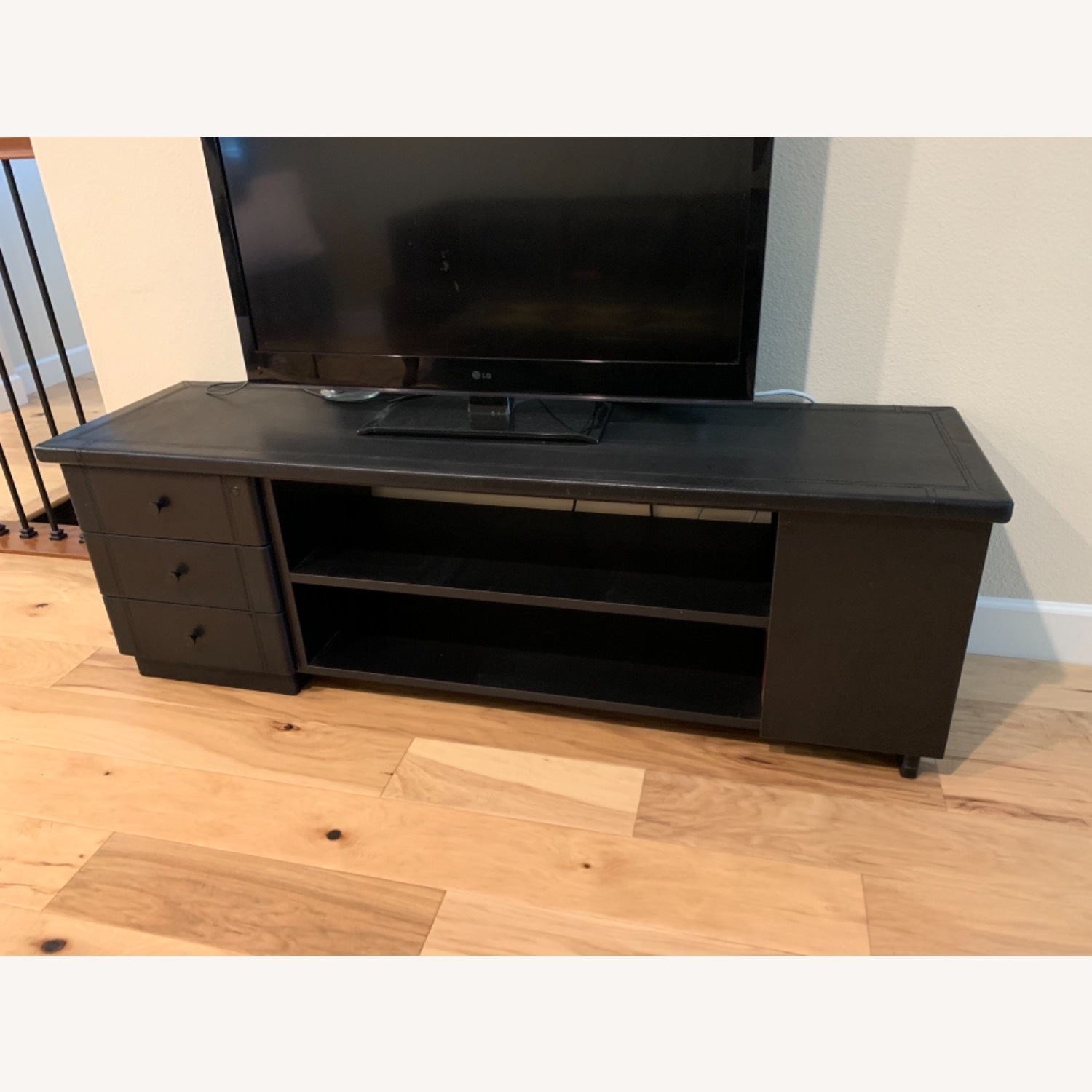 Black Leather Tv Stand Console - image-1