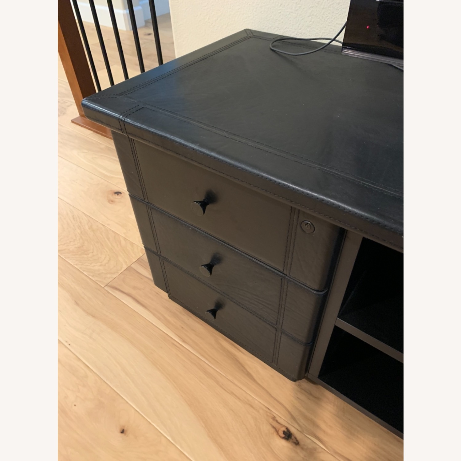 Black Leather Tv Stand Console - image-2