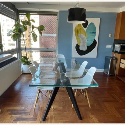 Used BoConcept Modern Stylish Glass Dining Table for sale on AptDeco