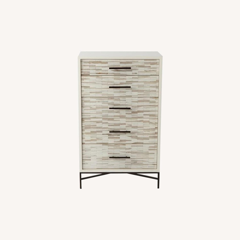 West Elm Wood Tiled 5-Drawer Dresser, White - image-0
