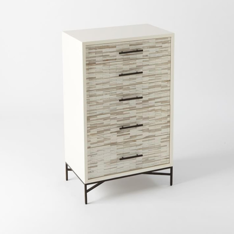 West Elm Wood Tiled 5-Drawer Dresser, White - image-1