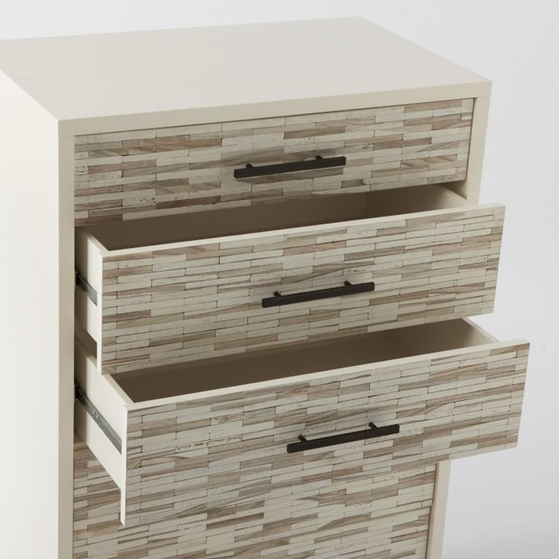 West Elm Wood Tiled 5-Drawer Dresser, White - image-2