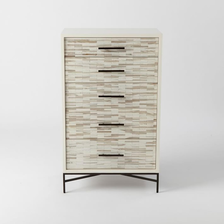 West Elm Wood Tiled 5-Drawer Dresser, White - image-3