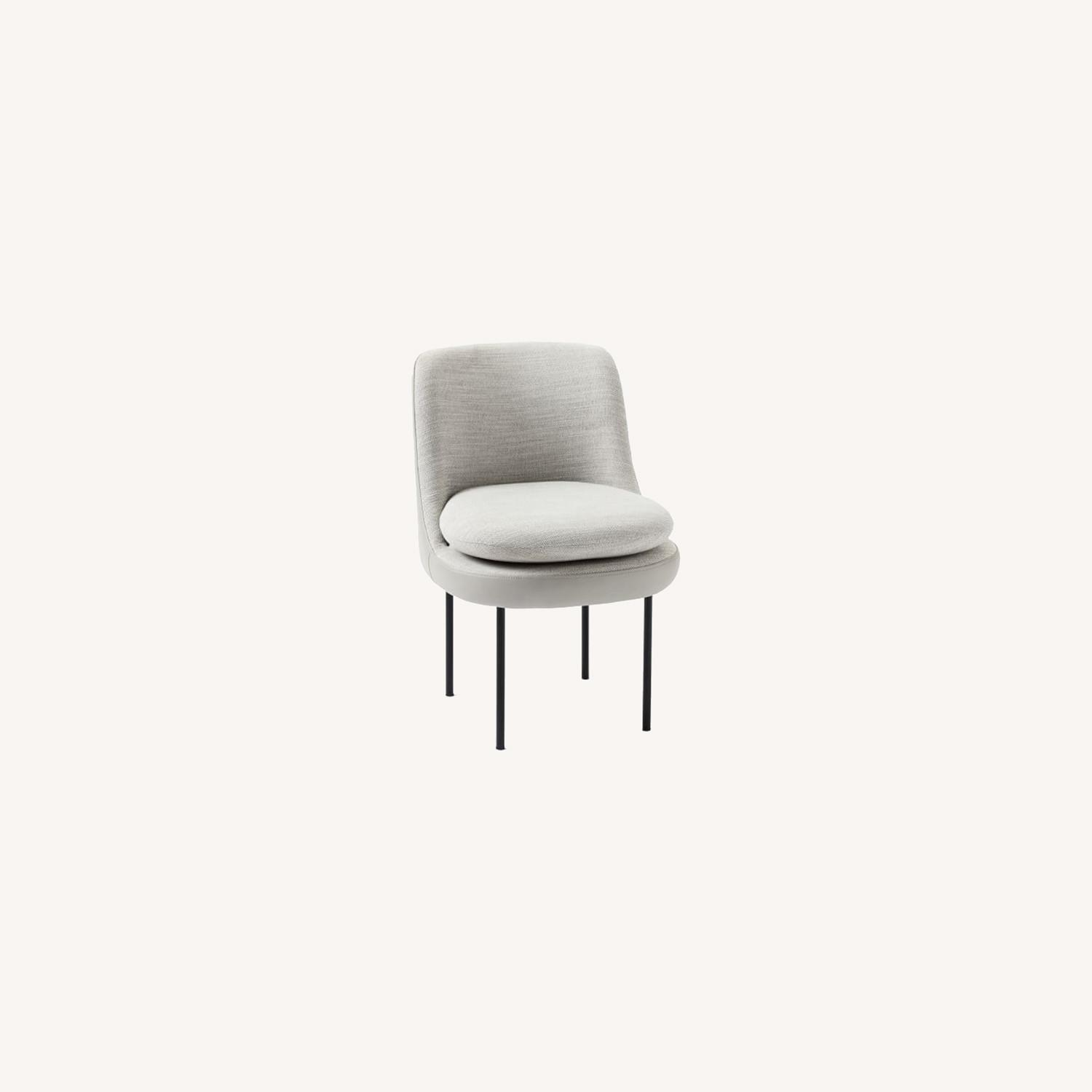 West Elm Modern Curved Leather Back Dining Chair - image-0
