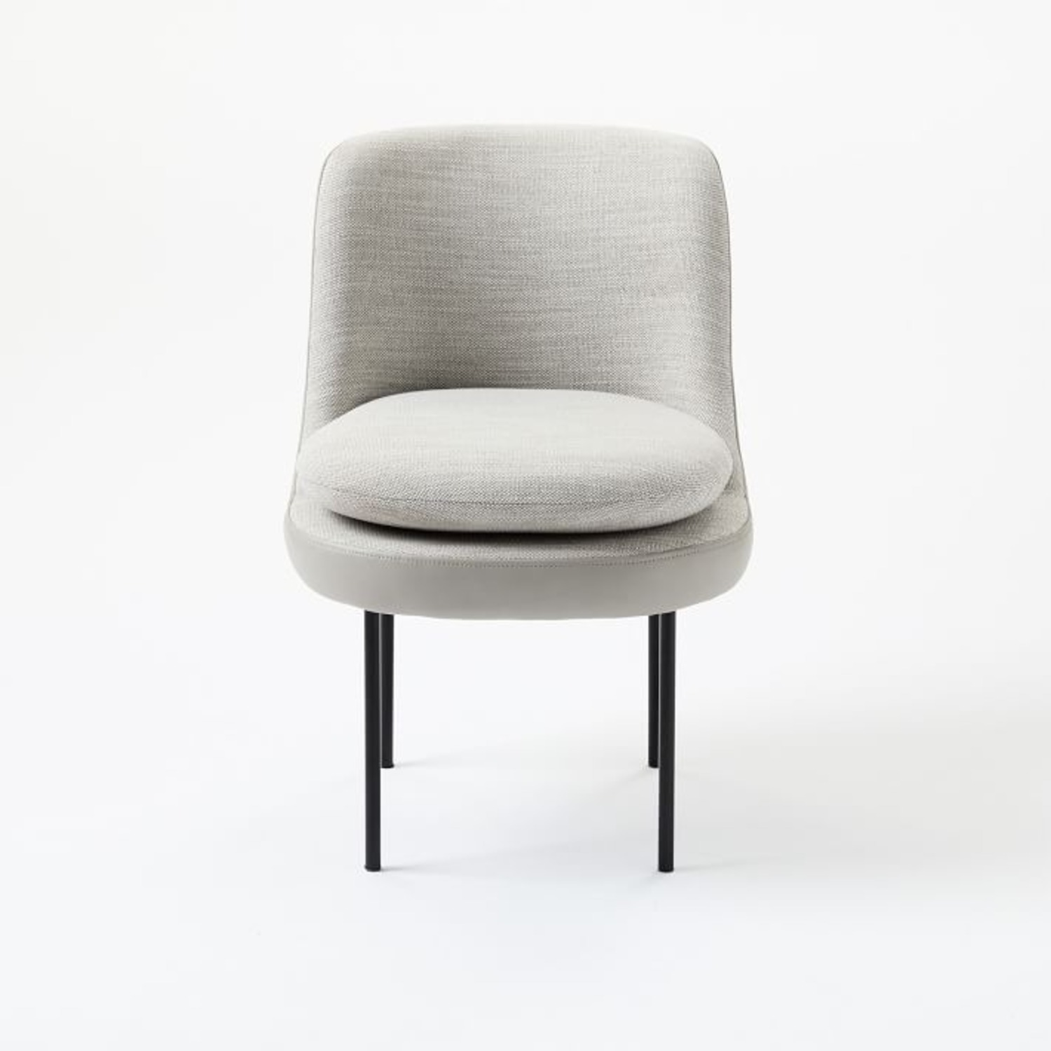 West Elm Modern Curved Leather Back Dining Chair - image-3