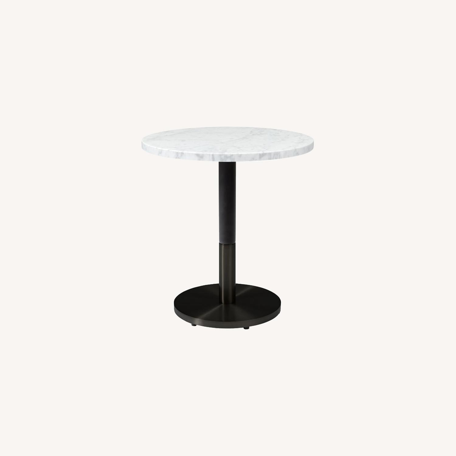 West Elm White Marble Round Bistro Table - image-0
