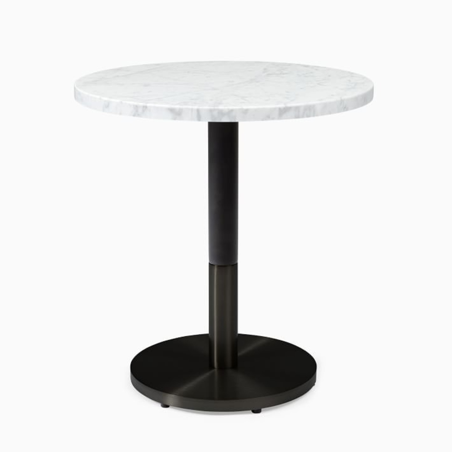 West Elm White Marble Round Bistro Table - image-1