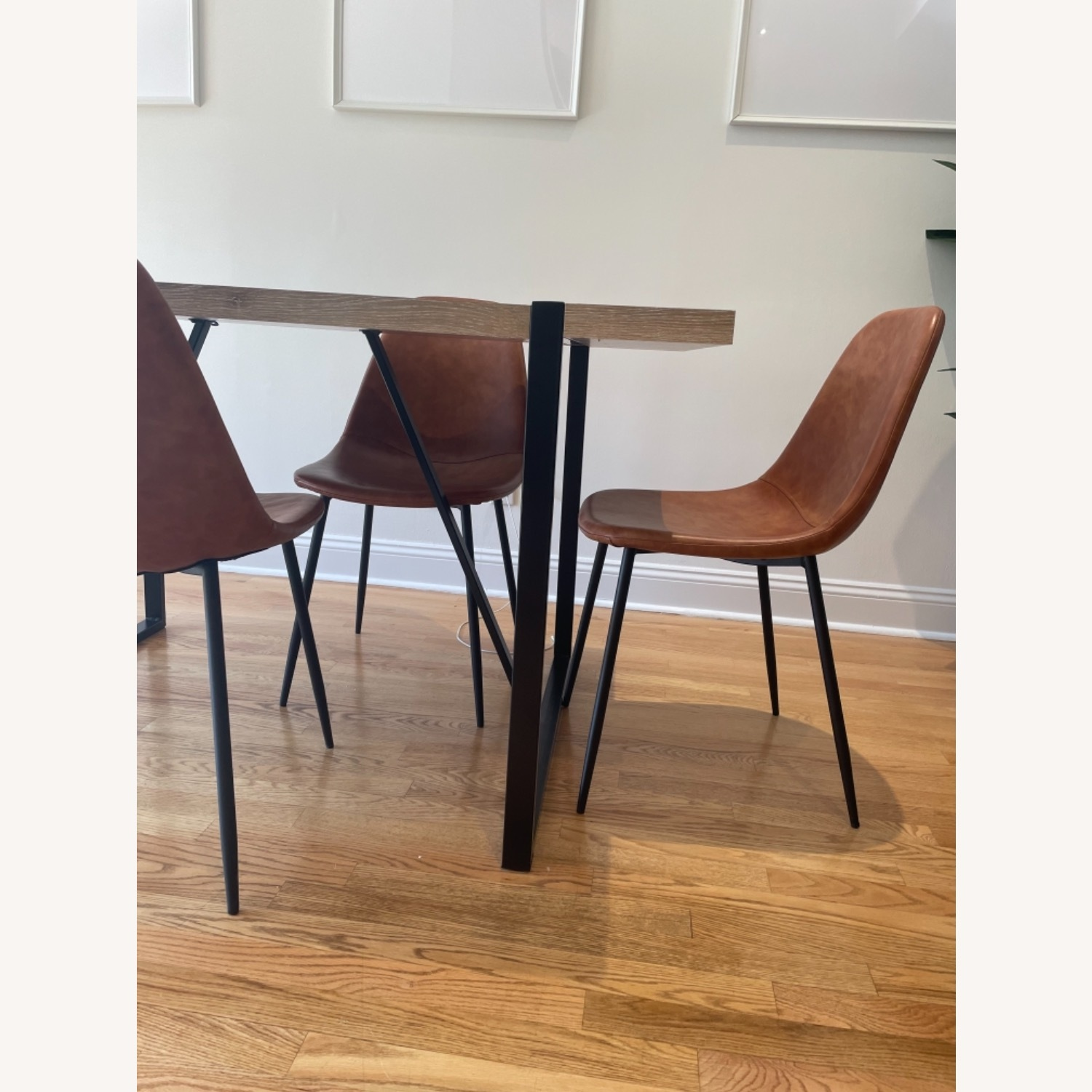 All Modern Tan Leather Dining Chair Set of 4 - image-2