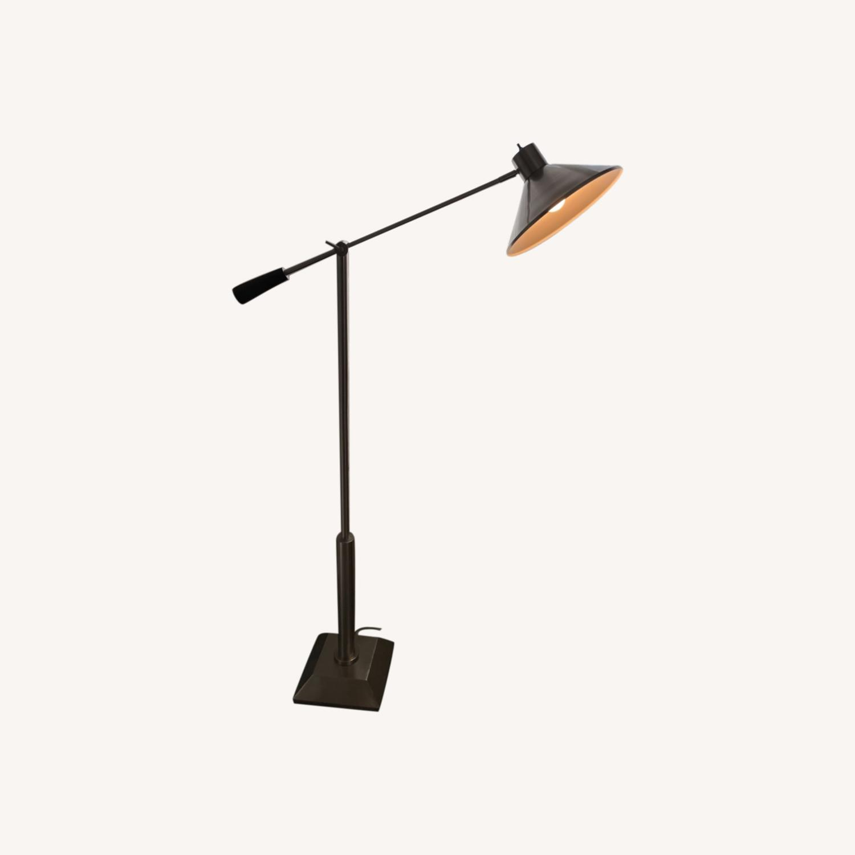 Brushed Nickel Adjustable Arm Floor Lamp - image-0