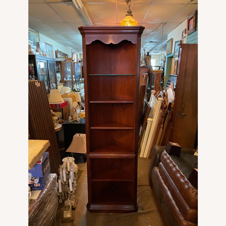 Vintage 1980s Thomasville Corner Cabinet w/ light - image-16