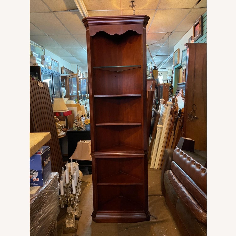 Vintage 1980s Thomasville Corner Cabinet w/ light - image-17