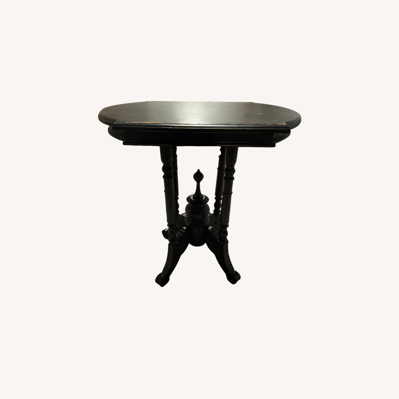 Black Wood Side Table, Distressed - image-0