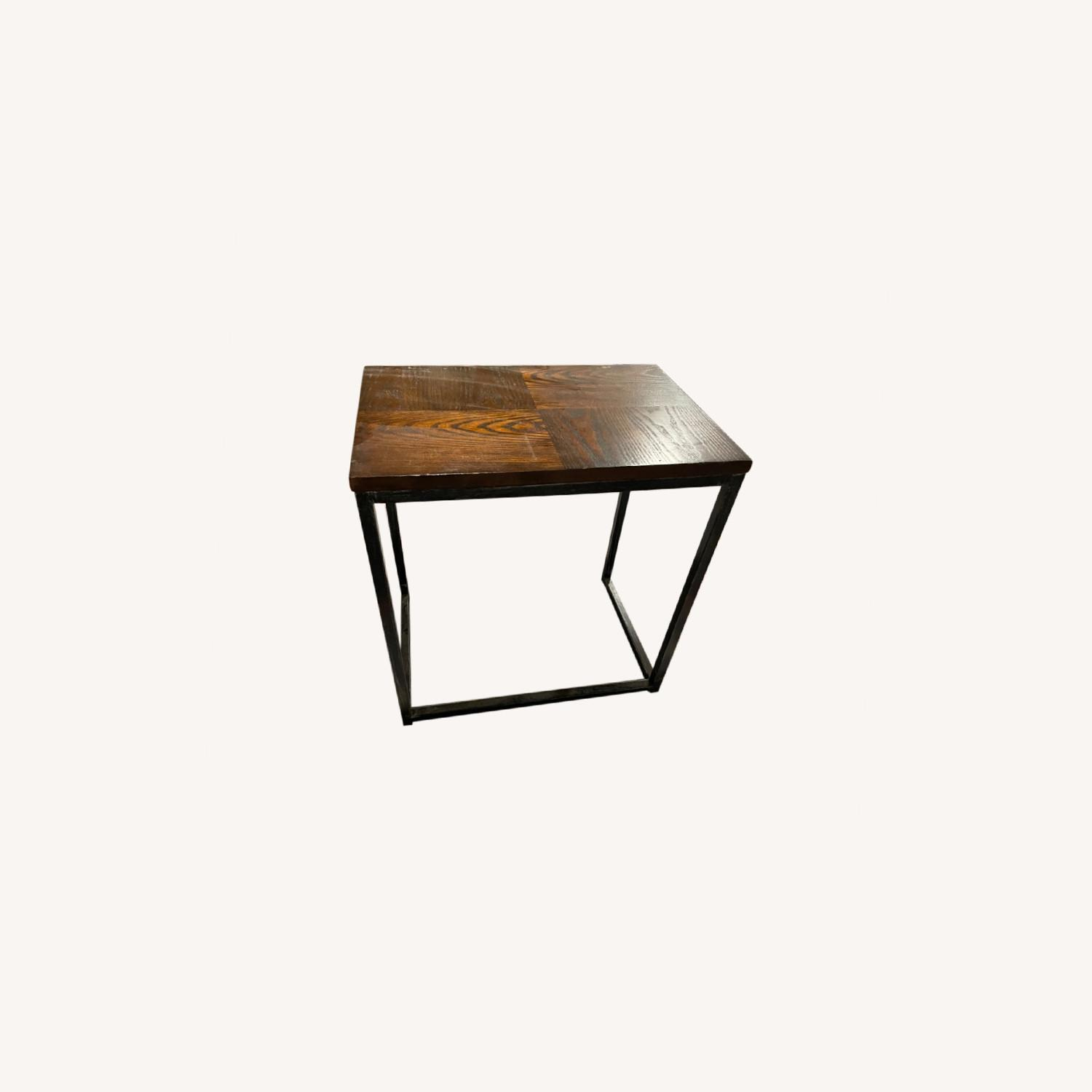 Wood Top Table with Metal Frame - image-0