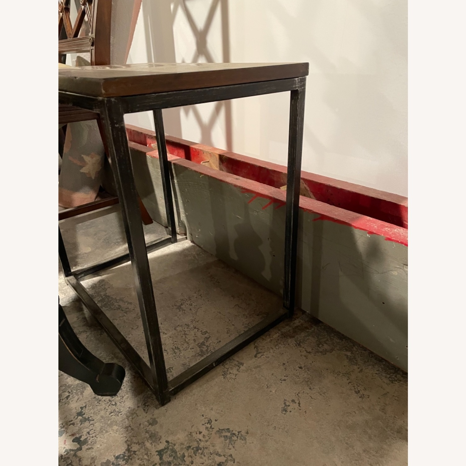 Wood Top Table with Metal Frame - image-3
