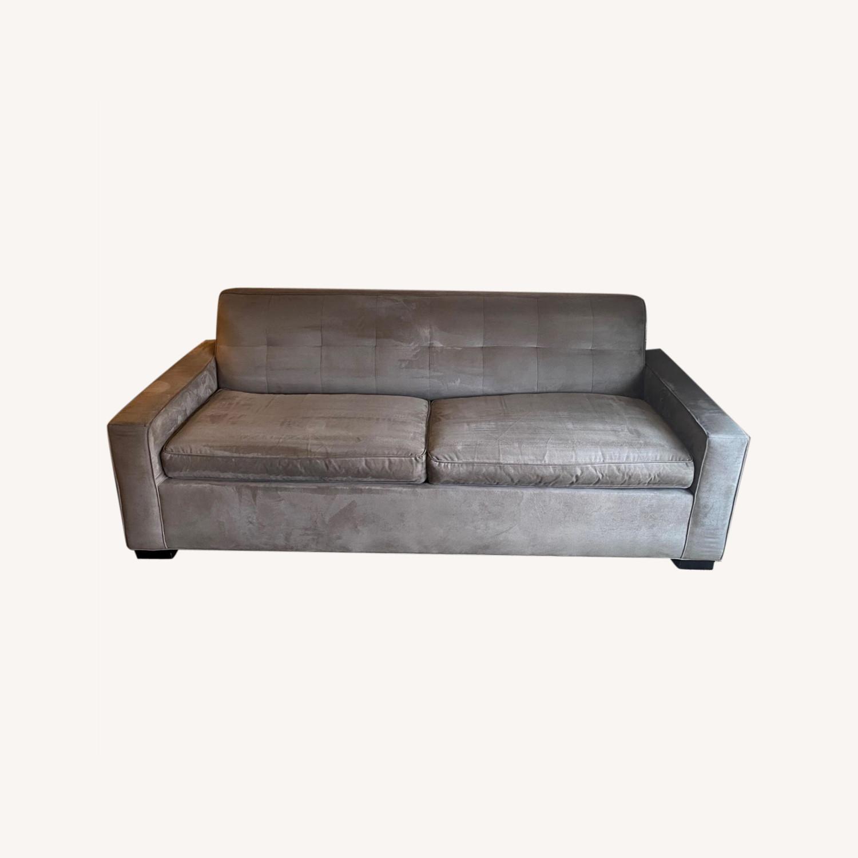 Mitchell Gold Grey Suede Sleeper Sofa - image-0