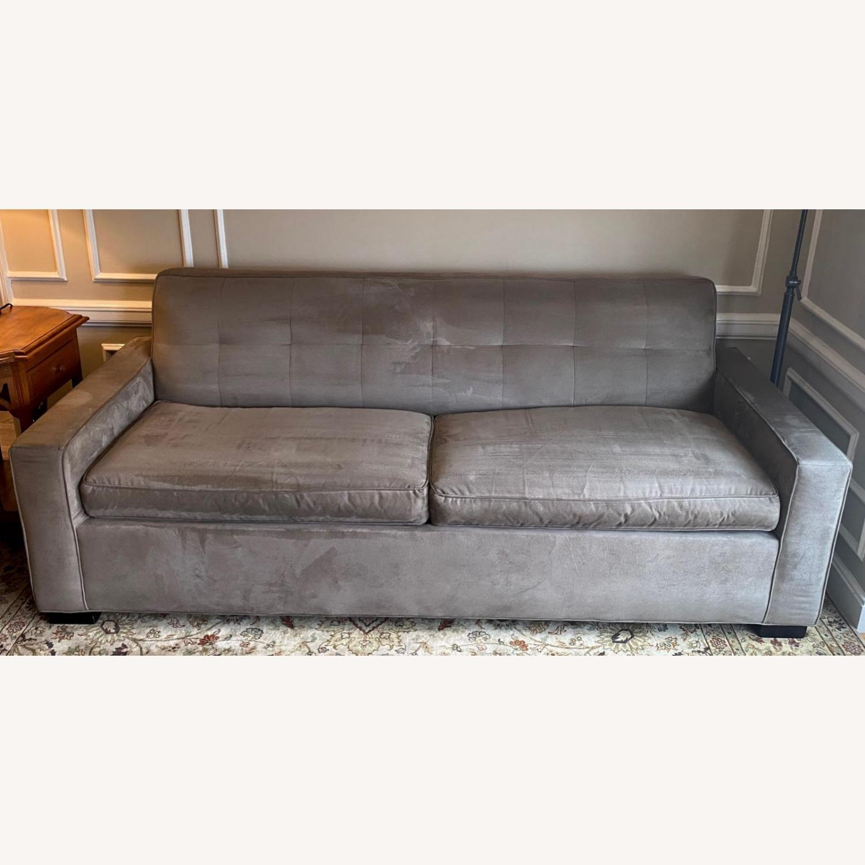 Mitchell Gold Grey Suede Sleeper Sofa - image-1