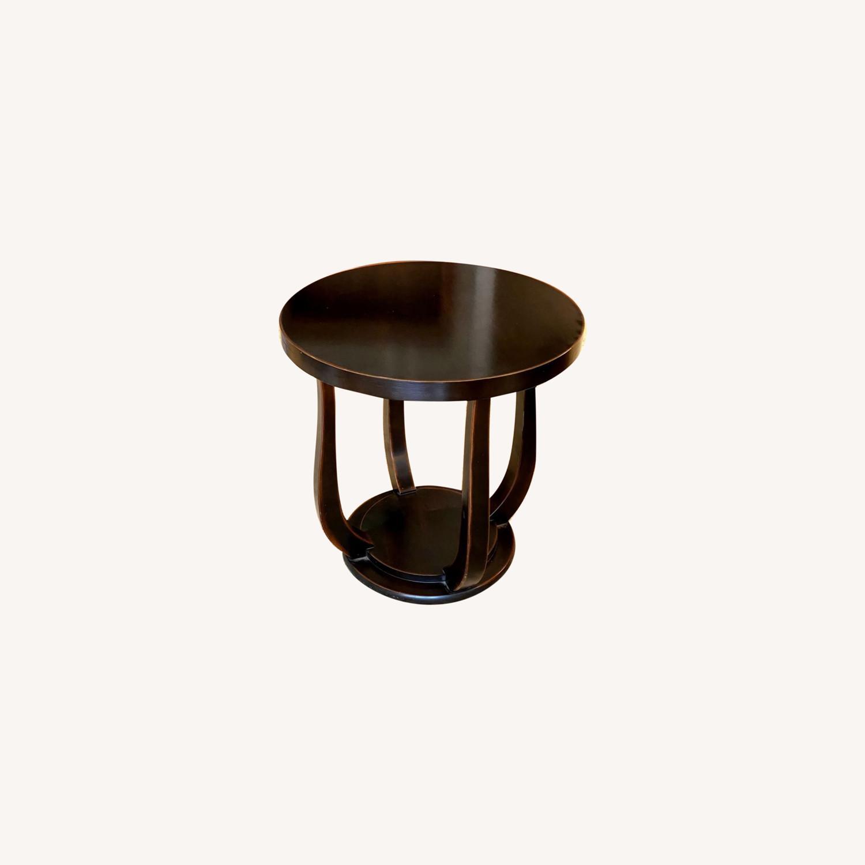 Dark Wood Tulip Side Table - image-0