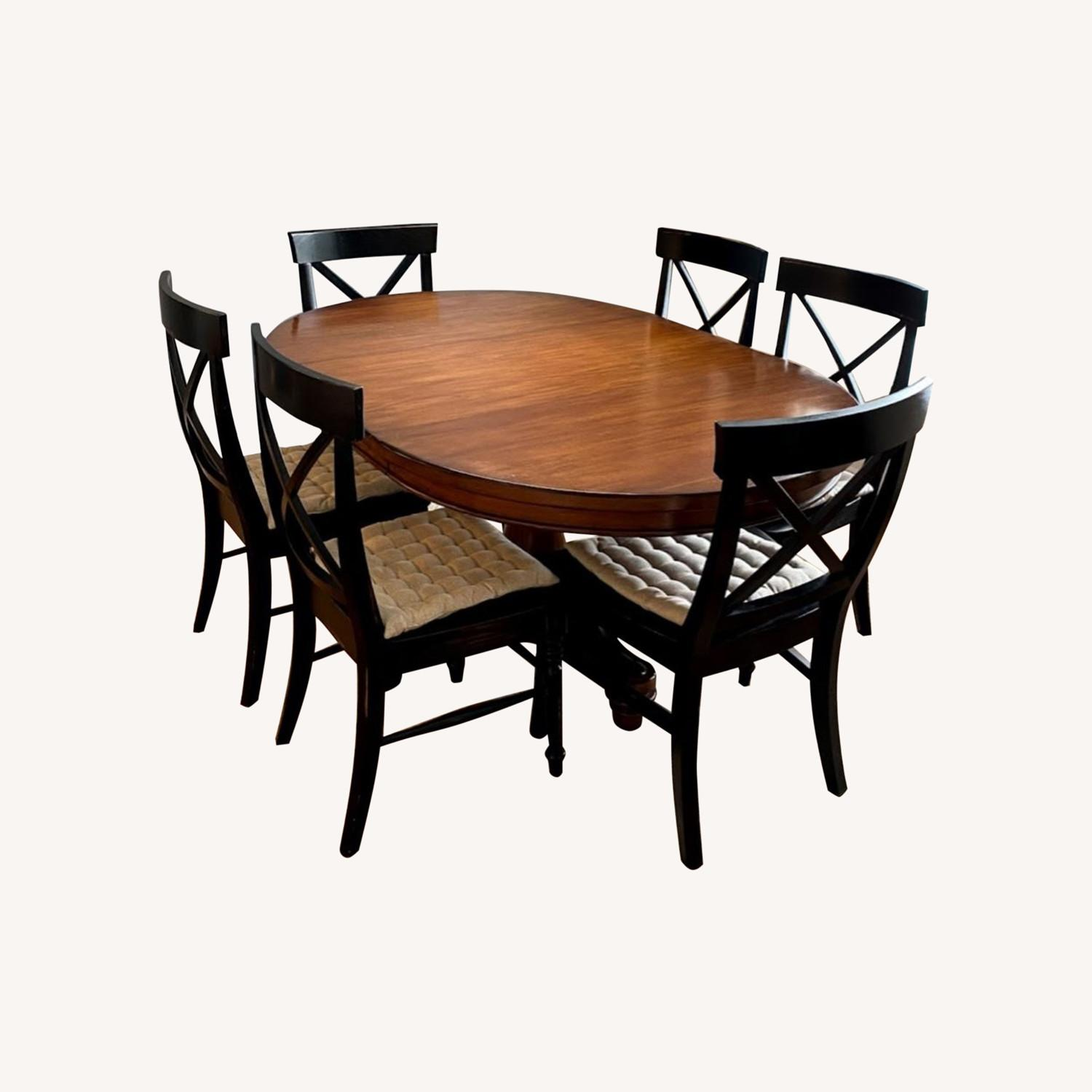 Pottery Barn Pedestal Extending Dining Table - image-0