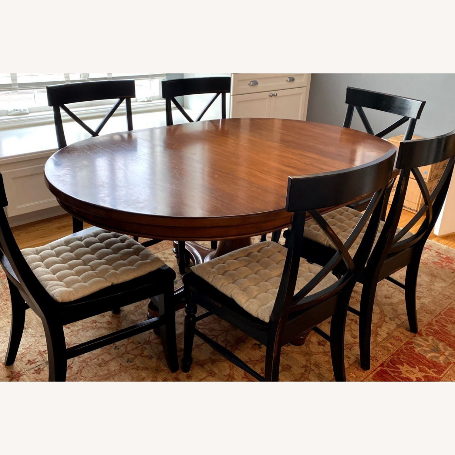 Pottery Barn Pedestal Extending Dining Table - image-2