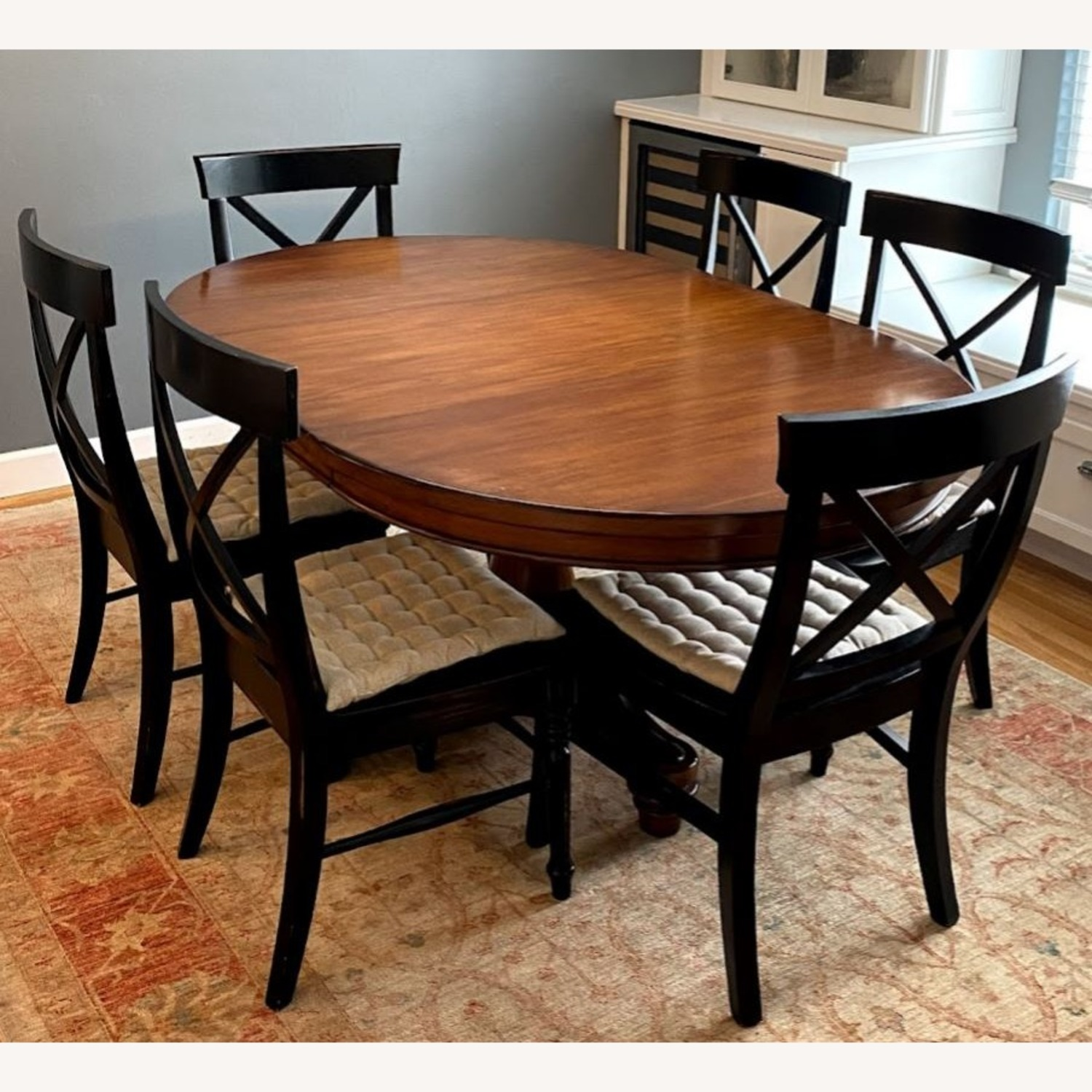 Pottery Barn Pedestal Extending Dining Table - image-1