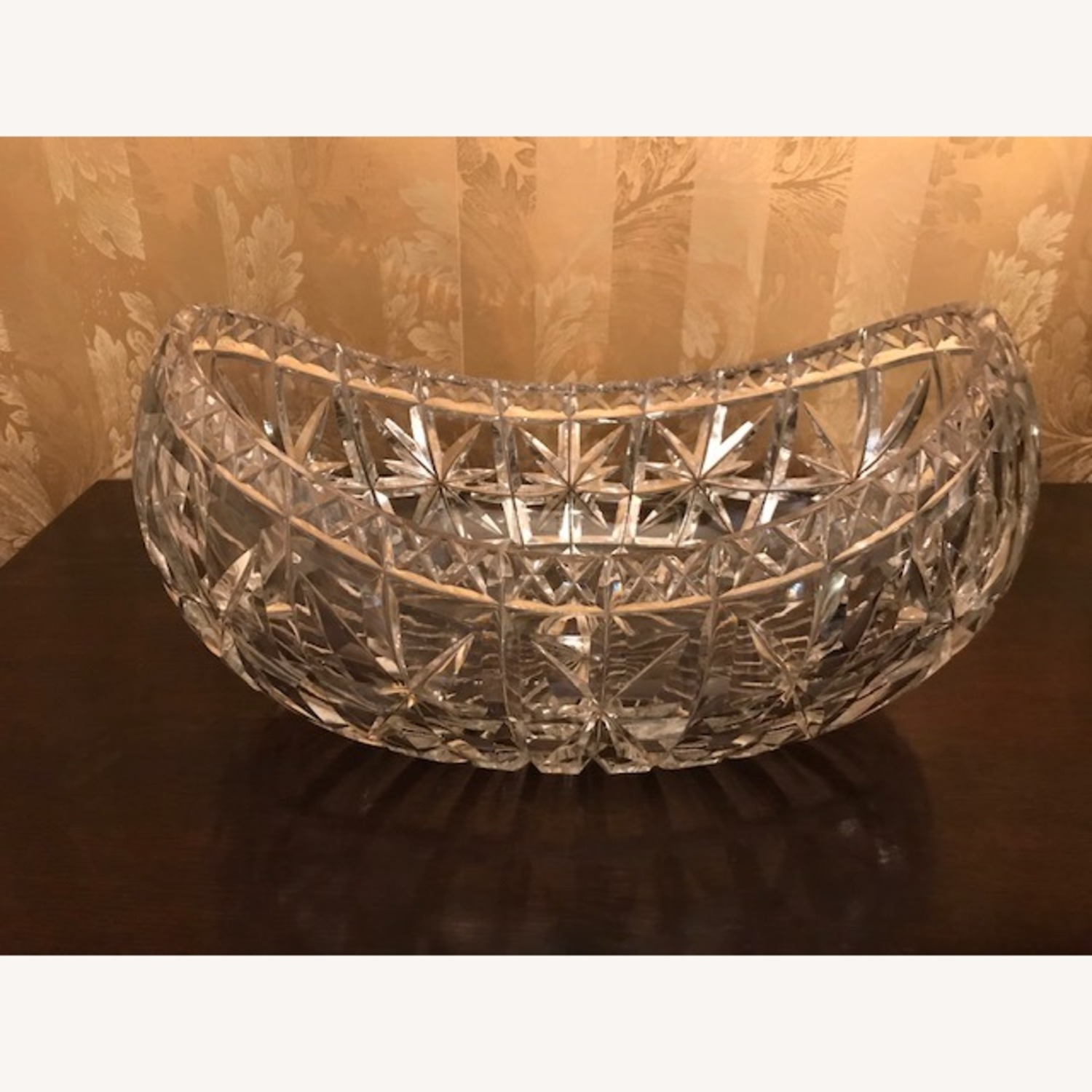 Enormous Antique 1800s Hand Cut Crystal Boat Bowl - image-2