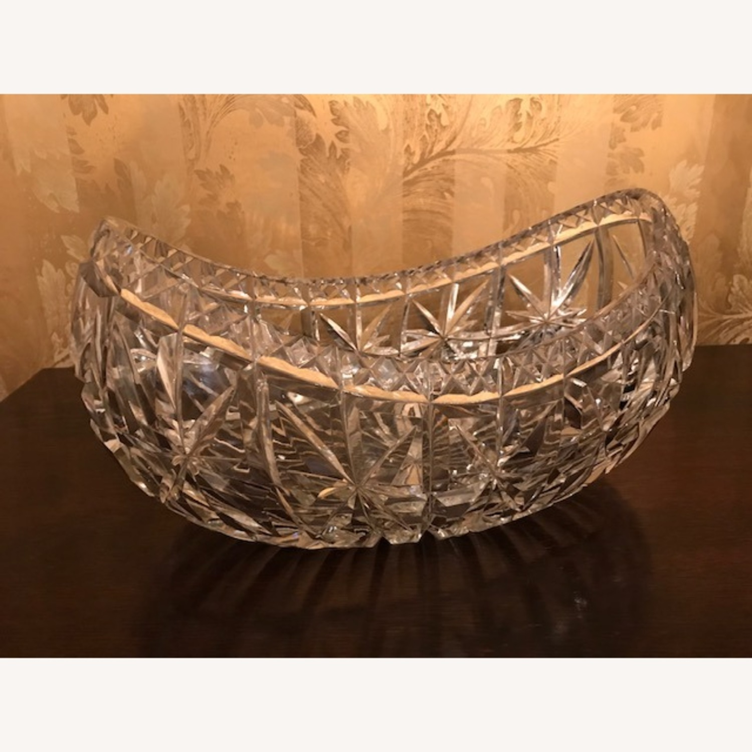 Enormous Antique 1800s Hand Cut Crystal Boat Bowl - image-3