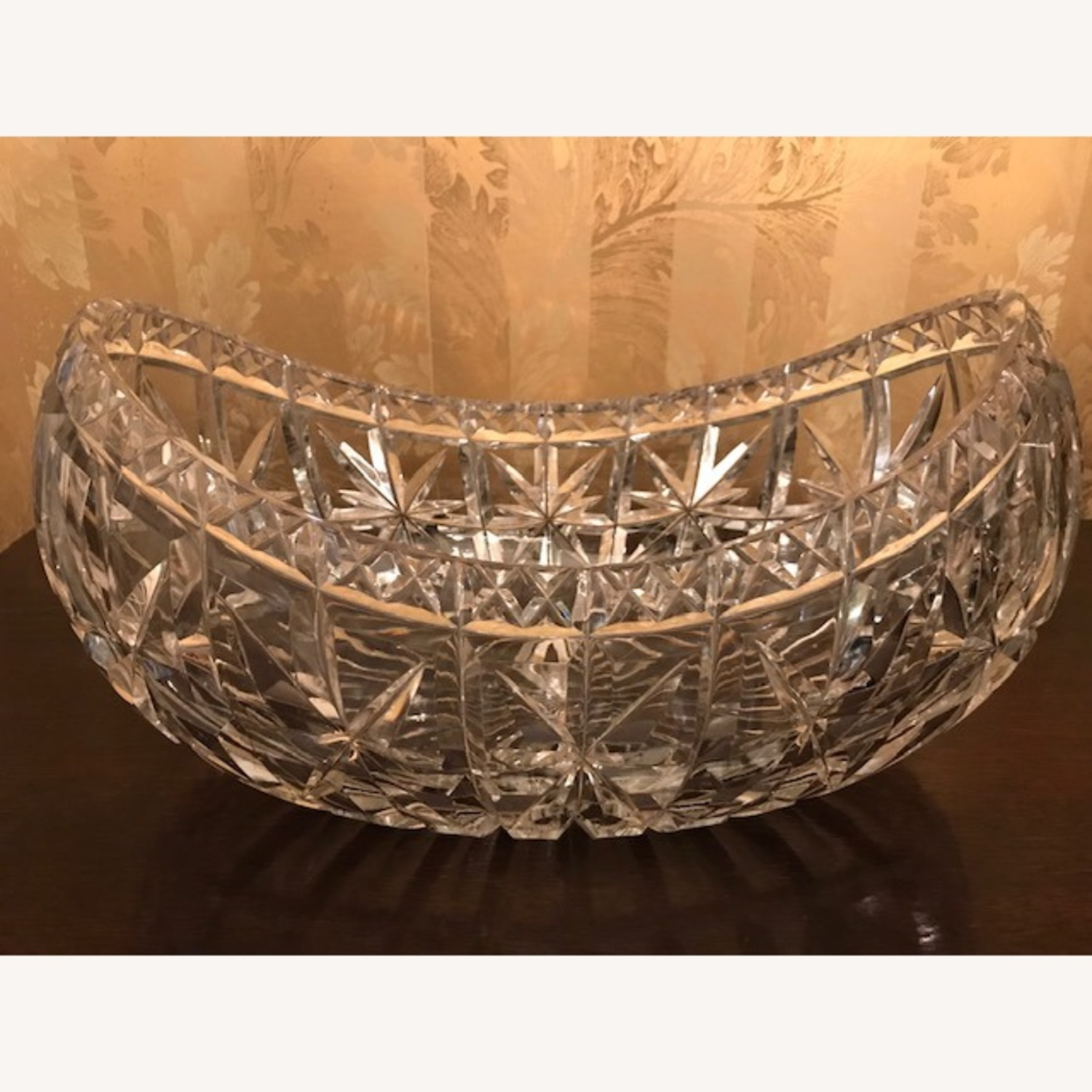 Enormous Antique 1800s Hand Cut Crystal Boat Bowl - image-1