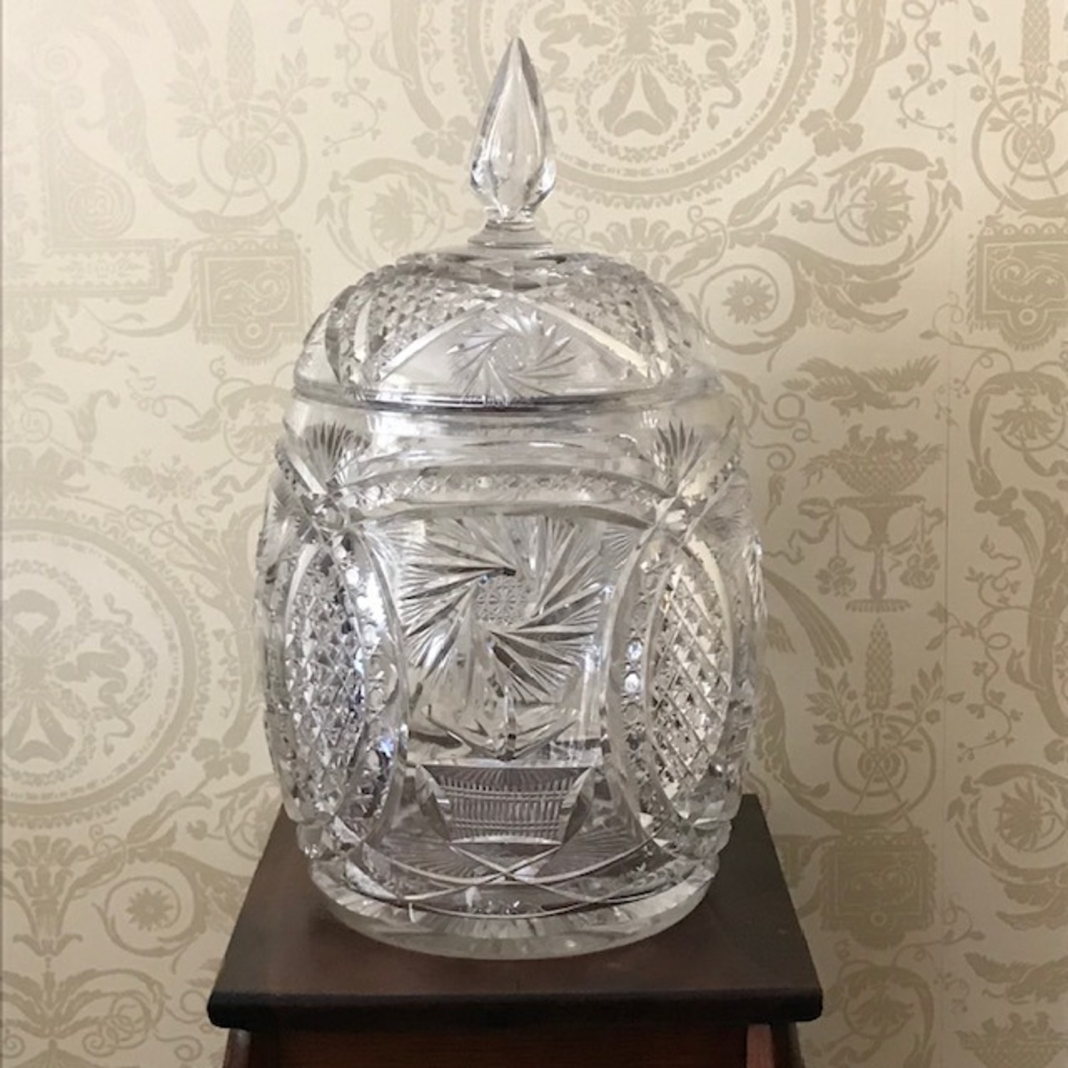 Extraordinary Antique 1800's Crystal Punch Bowl - image-1