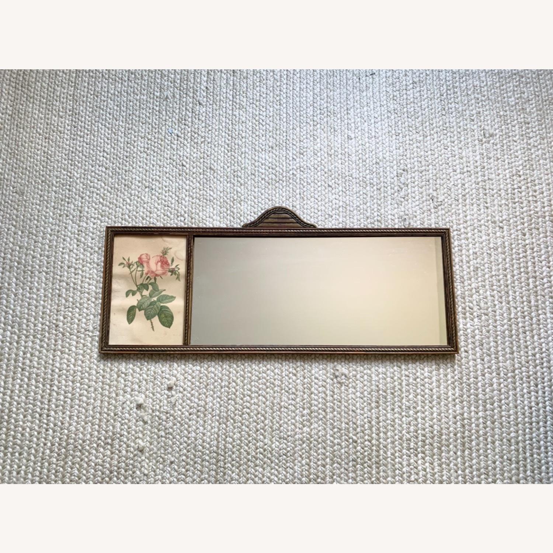 Antique Delicate Wood Framed Rose Print Mirror - image-4